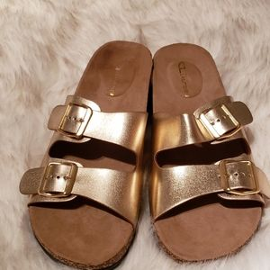 Gold double strap slip on sandals